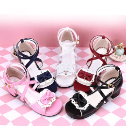 Angelic Imprint - Low Heel Open Toe Buckle Sweet Lolita Sandals with Bow