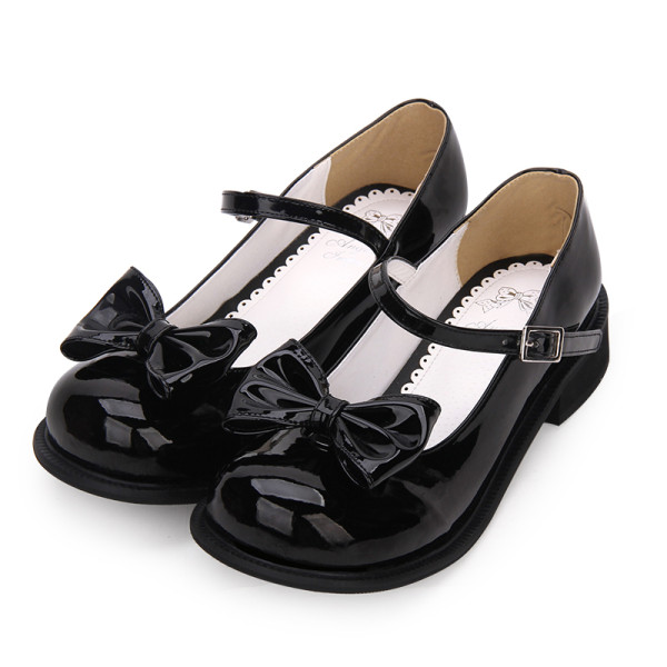 Angelic Imprint - Round Toe Buckle Sweet Lolita Flat Shoes with Removable Bow