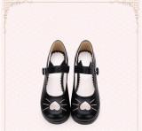 Angelic Imprint - Middle Heel Round Toe Buckle Heart Sweet Lolita Platform Shoes