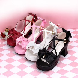 Angelic Imprint - High Chunky Heel Open Toe Buckle Platform Sweet Lolita Sandals with Bow and Pendant