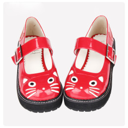 Angelic Imprint - Round Toe Buckle Sweet Cat Lolita Flat Shoes