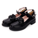 Angelic Imprint - Round Toe Buckle Classic Lolita Flat Shoes with Bow