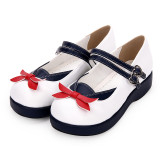 Angelic Imprint - White Round Toe Buckle Sailor Lolita Flat Shoes with Bow