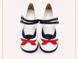 Angelic Imprint - Round Toe Buckle Sailor Lolita Flat Shoes with Bow
