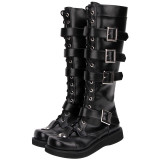 Angelic Imprint - Round Toe Buckle Gothic Punk Black Calf High Lolita Flat Boots