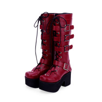 Angelic Imprint - High Chunky Heel Round Toe Buckle Platform Calf High Wine Punk Lolita Boots