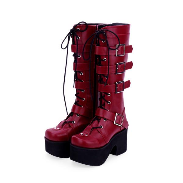 Angelic Imprint - High Chunky Heel Round Toe Buckle Platform Calf High Wine Punk Lolita Boots