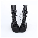 Angelic Imprint - Sky High Heel Round Toe Buckle Platform Ankle Short Gothic Punk Lolita Boots