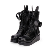 Angelic Imprint - High Heel Round Toe Buckle Ankle Short Sweet Lolita Boots with Ear and Fuzzy Ball