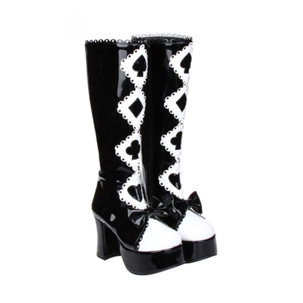 Angelic Imprint - Round Toe Buckle Gothic Punk Black and White Calf High Platform Lolita Boots with Bow