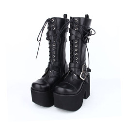 Angelic Imprint - Sky High Chunky Heel Round Toe Buckle Middle Calf Black Punk Lolita Platform Boots