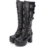 Angelic Imprint - High Chunky Heel Round Toe Buckle Platform Calf High Gothic Punk Lolita Boots with Zipper Back