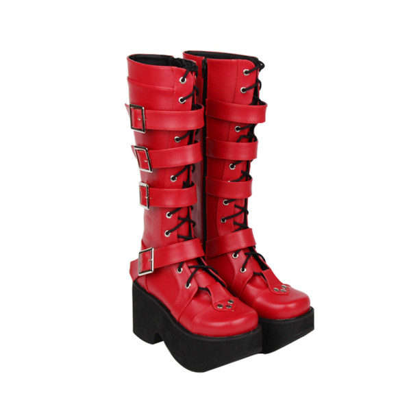 Angelic Imprint - High Chunky Heel Round Toe Buckle Platform Calf High Gothic Punk Lolita Boots