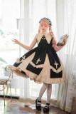 Yona Studio - Black Angel - Black Cross Gothic Lolita JSK Jumper Skirts with Pointed Collar