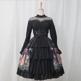 Meware - Gothic Long Sleeve Lolita OP One Piece Dress