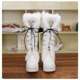 Angelic Imprint - High Chunky Heel Round Toe Calf High Platform White Sweet Lolita Boots with Rabbit Fur for Winter