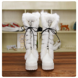 Angelic Imprint - High Chunky Heel Round Toe Calf High Platform White Sweet Lolita Boots with Rabbit Fur for Winter