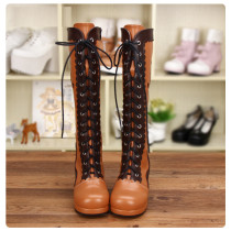 Angelic Imprint - High Chunky Heel Round Toe Calf High Classical Lolita Boots