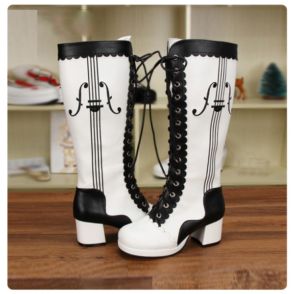 Angelic Imprint - High Chunky Heel Round Toe Calf High Classical Lolita Boots