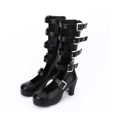Angelic Imprint - High Wedge Heel Round Toe Buckle Gothic Punk Black Calf High Lolita Sandal Boots