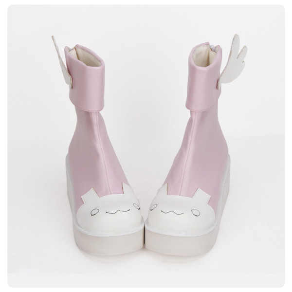 Angelic Imprint - High Heel Round Toe Ankle Short Pink Sweet Lolita Platform Boots with Wing and Bow