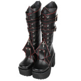 Angelic Imprint - High Chunky Heel Round Toe Buckle Gothic Punk Black Calf High Platform Lolita Boots with Zipper Back