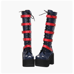 Angelic Imprint - High Chunky Heel Round Toe Buckle Gothic Punk Calf High Platform Dark Blue Lolita Boots with Zipper