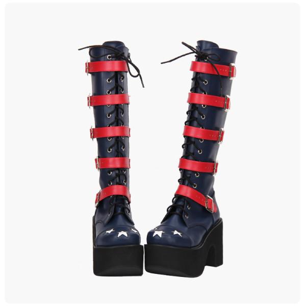 Angelic Imprint - High Chunky Heel Round Toe Buckle Gothic Punk Calf High Platform Dark Blue Lolita Boots with Zipper