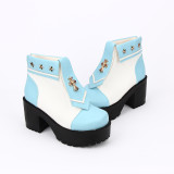 Angelic Imprint - High Chunky Heel Round Toe Ankle Short Sailor Platform Lolita Boots