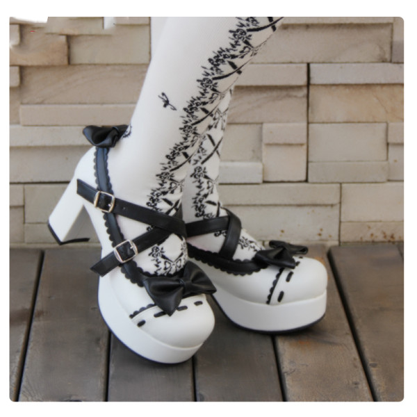 Angelic Imprint - High Chunky Heel Round Toe Buckle Sweet Platform Lolita Shoes with Bow