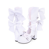 Angelic Imprint - High Chunky Heel Round Toe Buckle Calf High Classical Lolita Sandal Boots with Bow