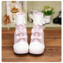 Angelic Imprint - Low Heel Round Toe Ankle Short Pink Sweet Lolita Boots with Bow