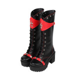 Angelic Imprint - High Chunky Heel Round Toe Buckle Gothic Punk Black Calf High Platform Lolita Boots
