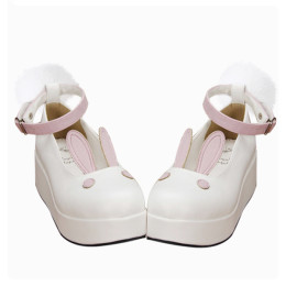 Angelic Imprint - Middle Heel Round Toe Buckle Rabbit Ear Sweet Lolita Platform Shoes