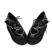 Angelic Imprint - High Heel Round Toe Gothic Punk Black Lolita Platform Shoes with Bow