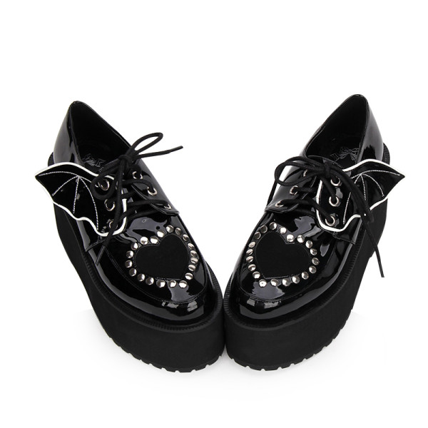 Angelic Imprint - High Heel Round Toe Gothic Punk Black Lolita Platform Shoes with Bow