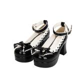 Angelic Imprint - High Chunky Heel Round Toe Buckle Black Platform Sweet Lolita Shoes with Bow