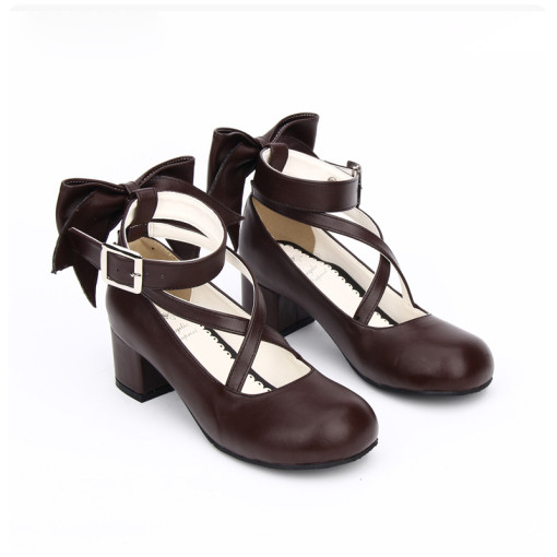 Angelic Imprint - Low Chunky Heel Round Toe Buckle Sweet Lolita Shoes with Bow Back