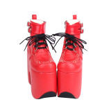 Angelic Imprint - Sky High Heel Round Toe Ankle Short Red Gothic Punk Platform Lolita Boots