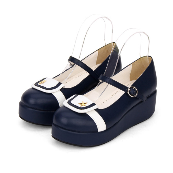 Angelic Imprint - Middle Heel Round Toe Buckle Sailor Lolita Platform Shoes