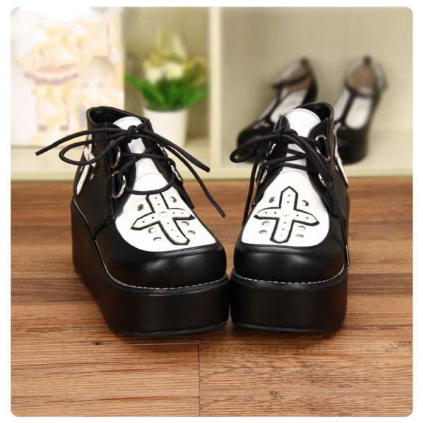 Angelic Imprint - High Heel Round Toe Gothic Punk Black Lolita Platform Shoes