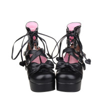 Angelic Imprint - High Chunky Heel Round Toe Buckle Ankle Short Gothic Punk Black Platform Lolita Sandal Boots with Bow