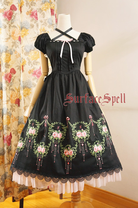 Surface Spell -Dancing Rose- Embroidery Short Sleeve Calf Length Gothic Lolita OP One Piece Dress