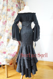 Surface Spell -Mermaid Vintage- Gothic High Waist Ankle Length Long Mermaid Split Lolita Skirt