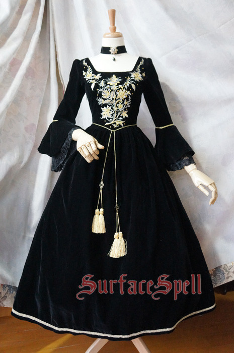 Surface Spell -Bourbon Dynasty- Embroidery Vintage Long Sleeve Knee Length Gothic Lolita Dress for Autumn and Winter