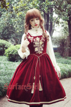 Surface Spell -Bourbon Dynasty- Embroidery Knee Length Gothic Lolita JSK Jumper Skirt for Atumen and Winter