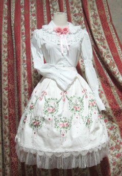 Surface Spell -Dancing Rose- Embroidery Gothic High Waist Knee Length Lolita Skirt