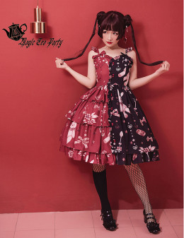 Magic Tea Party -Chocolate Rabbit- Sweetheart Split Color Neckline Sweet Lolita JSK Jumper Skirt