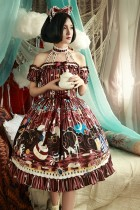Magic Tea Party -Circus Maiden- Off Shoulder Halter Neckline Sweet Lolita OP One Piece Dress with Detachable Sleeves