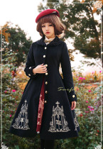 Surface Spell - Gothic Elegant Embroidery Wool High Waist Lolita Winter Long Coat